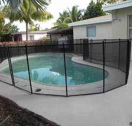 pool fence on concrete deck - Pool Fence Installation