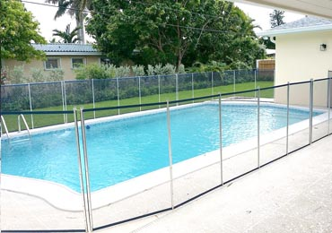 Blue/Aluminum Pool Fence
